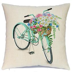 AENEY Blue Bicycle Flower Vintage Spring Home Decorative Thr