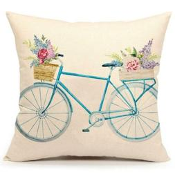 blue bicycle throw pillow cover vintage spring