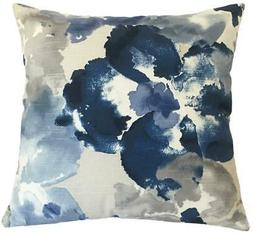 Blue Floral Watercolor Decorative Throw Pillow Cover  / Cush