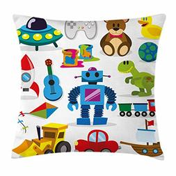 Lunarable Boy's Room Throw Pillow Cushion Cover, Cute Robot