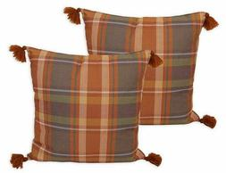 Brent Plaid Throw Pillows in Umber