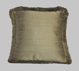bronze gold silk decorative square throw pillows with fringe