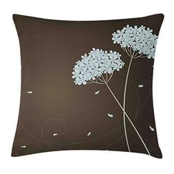 Ambesonne Brown and Blue Throw Pillow Cushion Cover, Floral