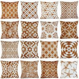 Brown Geometric Art Home Decor Sofa Couch Throw PILLOW COVER