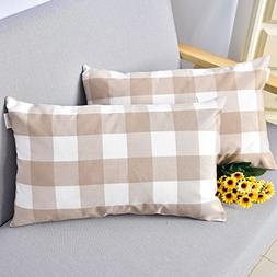 Natus Weaver Brown & White Buffalo Check Plaid Throw Pillow