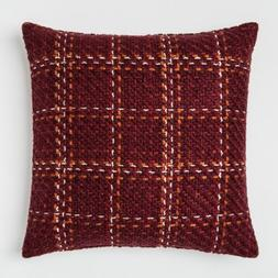 """Burgundy Plaid Oversize Woven Square Throw Pillow Berry 24"""""""