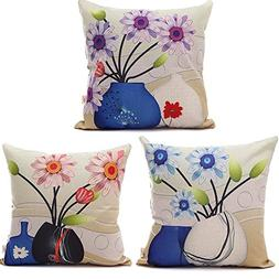 HOSL C6 Cartoon Flowers in a Vase Decorative Throw Pillow Ca