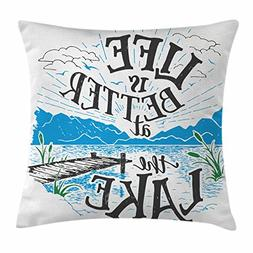 Ambesonne Cabin Throw Pillow Cushion Cover, Life is Better a