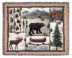 "Cabin Fever Moose Bear Lodge Tapestry Throw 50"" x 60"