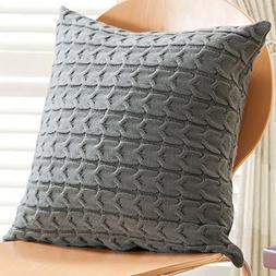 Sanifer Cable Knit Cotton Throw Pillow Cover 20x20 Pillow Ca