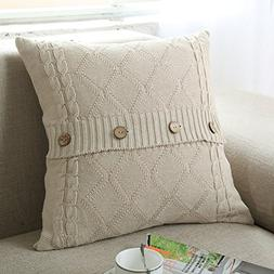 "DOUH Cable Knit Pillow Cover 18"" x 18"" Soft Warm Square Thro"