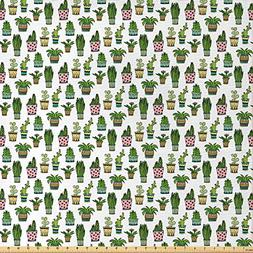 Ambesonne Cactus Fabric by The Yard, Colorful Pretty Succule