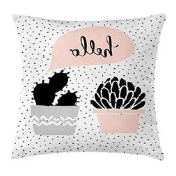 Ambesonne Cactus Throw Pillow Cushion Cover, Dotted Backdrop