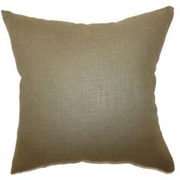 """Cameo Solid 24"""" x 24""""  Feather Throw Pillow Hickory Brown 24"""