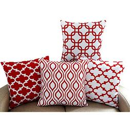 Howarmer Canvas Cotton Square Throw Pillows of Red Arrow Pat