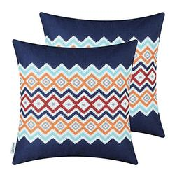 CaliTime Pack of 2 Soft Canvas Throw Pillow Covers Cases for