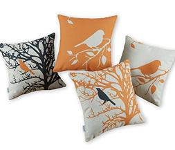 Set of 4 CaliTime Canvas Throw Pillow Covers Cases for Couch