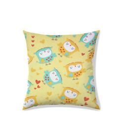 Cartoon Print Cushion Cover Satin Fabric Beige Square Beddin