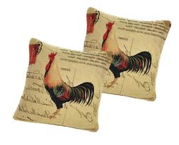 DaDa Bedding CC-15045 Glamorous Rooster Woven Cushion Cover,