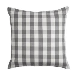 "Ikea Checkered Pillow Cushion Cover 20 x 20"" Gray White Cott"