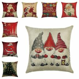 Christmas Pillow Case Santa Cotton Linen Sofa Car Throw Cush