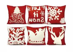 Christmas Throw Pillow Cover Set Holiday Pattern Red Snowfla
