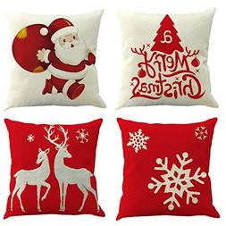 Ogrmar 4PCS 18x18 Christmas Throw Pillow Covers Fall Decorat