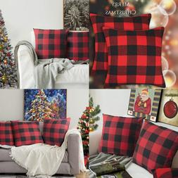 christmas throw pillow covers red and black