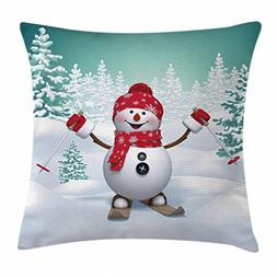 Ambesonne Christmas Throw Pillow Cushion Cover, Snow Covered