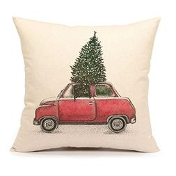 4TH Emotion Christmas Tree and Red Car Throw Pillow Cover Ho