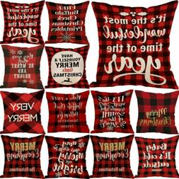 Christmas Xmas 18 Pillow Throw Merry Cushion Deer Red Plaid