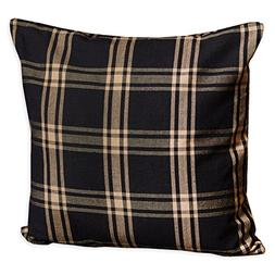 Country House Classic Black & Tan Plaid Accent Throw Pillow