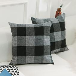 Home Brillian Classic Retro Checkers Plaids Cotton Linen Gre