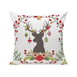 Kimloog Clearance!Merry Christmas Floral Print Deer Square T