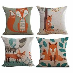 Clearance! Paymenow 4 Pieces Square Throw Pillow Cases Linen