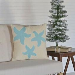 VHC Brands Coastal Pillows & Throws - Three Starfish White 1