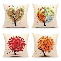 4TH Emotion Colorful Autumn Flower Tree Fall Home Decor Thro