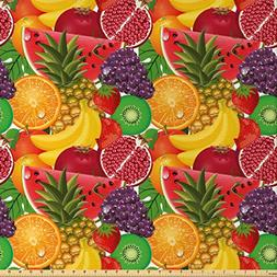 Ambesonne Colorful Fabric by The Yard, Exotic Tropical Fresh
