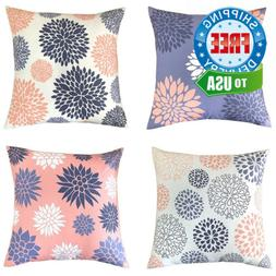 BLUETTEK Colorful Home Decorative Blue & White & Pink Throw