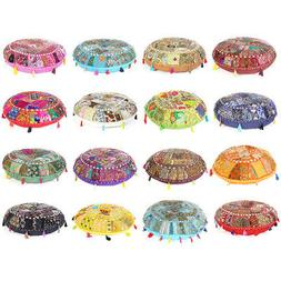 Colorful Patchwork Round Floor Pillow Cushion Cover Meditati