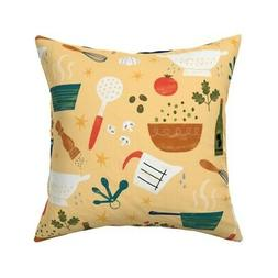 Cooking Kitchen Food Vegetables Throw Pillow Cover w Optiona