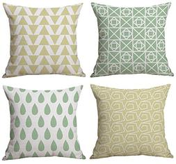 Cool Fresh Summer Style, Green Raindrops, Yellow Triangles,