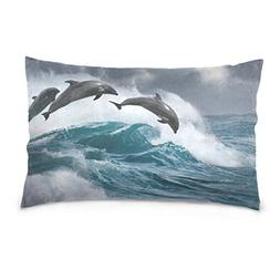 Cooper girl Ocean Dolphins Pillow Case Sofa Bed Throw Pillow