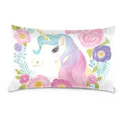 Cooper girl Unicorn Flowers Rose Pillow Case Sofa Bed Throw