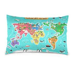 Cooper girl World Map Animal Pillow Case Sofa Bed Throw Pill