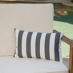 Coronado Outdoor Black and White Stripe Water Resistant Rect