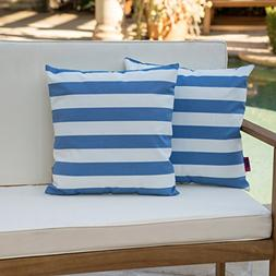 Great Deal Furniture Coronado Outdoor Blue and White Stripe