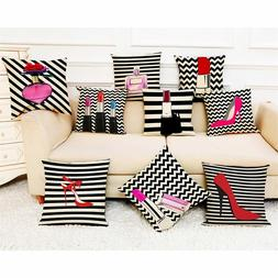 Cosmetic pattern Throw Pillow Case Lipstick perfume Decorati