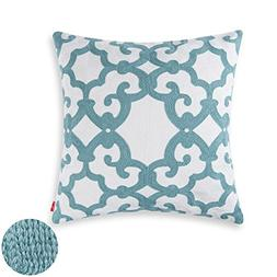 baibu 100% Cotton Decor Throw Pillow Case Embroidery Turquoi