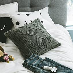 DOKOT Decorative Cotton Knitted Throw Pillow Cover, Square W